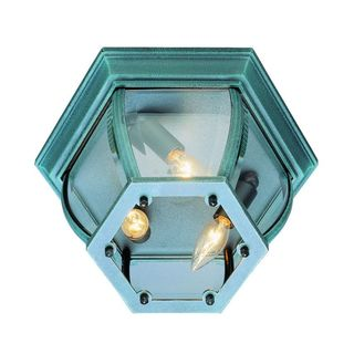 Cambridge 3-light Verde Green Finish Flush Mount with Clear Beveled Shade
