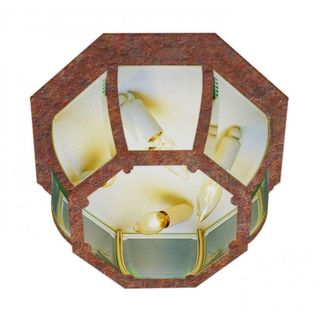 Cambridge Rust Finish Flush Mount with Clear Beveled Shade