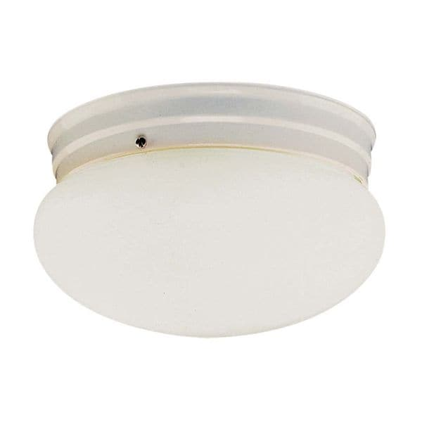Cambridge White Finish Flush Mount with Opal Shade