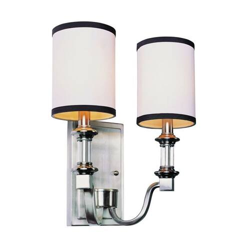 Cambridge 2-light Brushed Nickel 12-inch Wall Sconce with White Linen