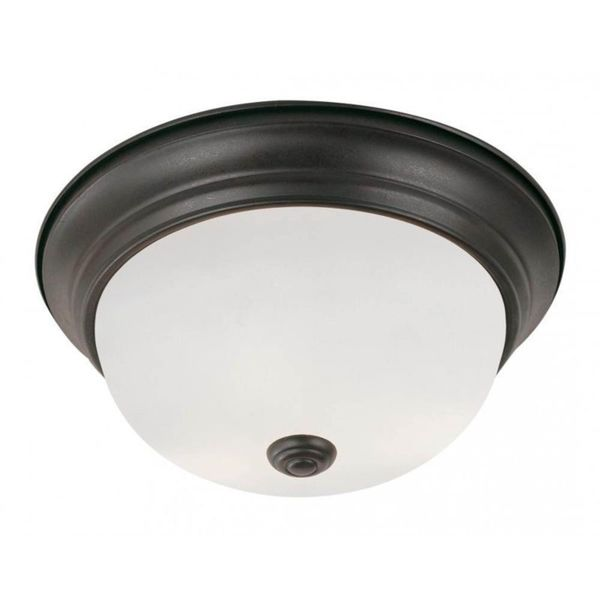 Cambridge Rubbed Oil Bronze 2-light  Flush Mount with Frosted Shade