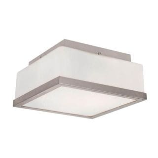 Cambridge Brushed Nickel 2-light Flush Mount with Frosted Shade