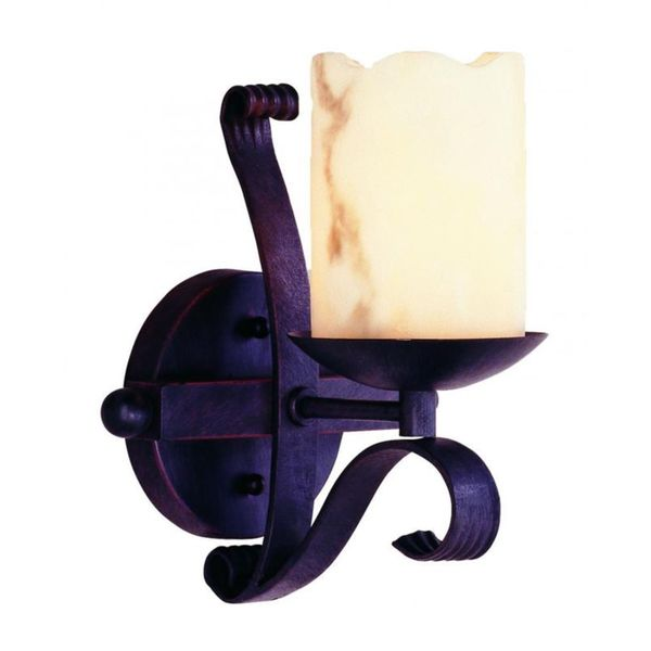 Cambridge 1-light Black 8-inch Wall Sconce with Beige Glass