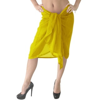 La Leela Sheer Chiffon Plain Wrap Swim Beach Pareo Sarong Cover up Yellow
