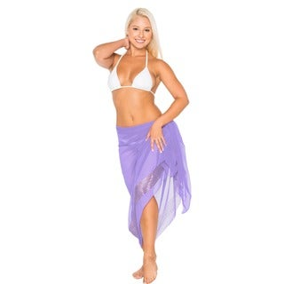 La Leela Super Lightweight Chiffon Sequin Embroidered Sarong 72X42 Inch Purple