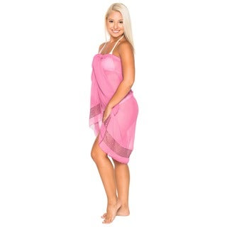 La Leela Super Lightweight Chiffon Sequin Embroidered Sarong 72X42Inch Lightpink