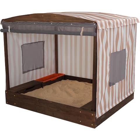 KidKraft Oatmeal and White Stripes Outdoor Cabana Sandbox