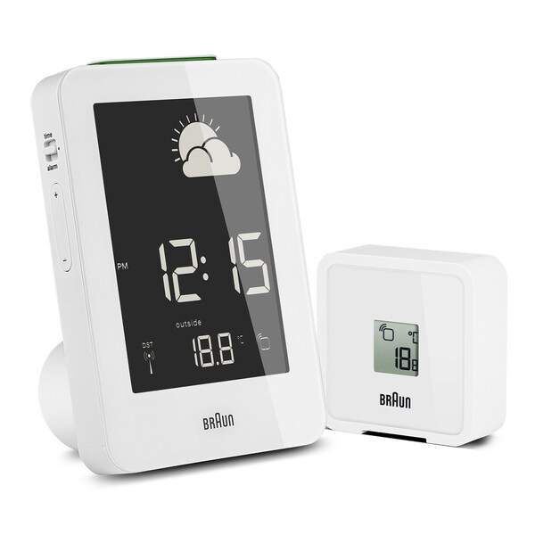Braun Digital LCD Global Radio Controlled Weather Station White Alarm Clock. Opens flyout.