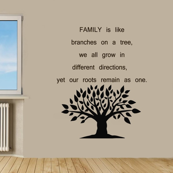 shop family tree quote sticker vinyl wall art - free shipping on