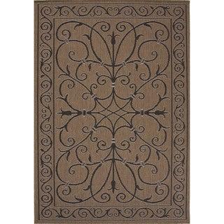 Indoor-Outdoor Oriental Pattern Brown/Black (4' x 5'3) AreaRug