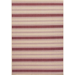 Indoor-Outdoor Stripe Pattern Brown/Red (4' x 5'3) AreaRug
