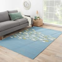 Havenside Home Spring Lake Indoor/ Outdoor School of Fish Blue/ Green Area Rug - 3'6 x 5'6