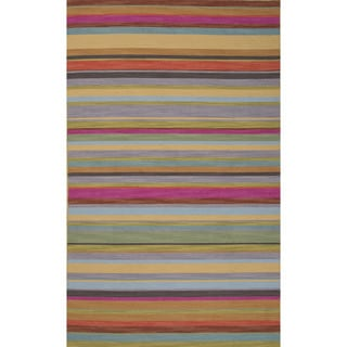 Handmade Stripes Pink Area Rug (4' X 6')