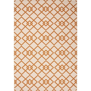 Jaipur Living Indoor-Outdoor Bloom Orange/Ivory Geometric Rug (5'3 x 7'6)