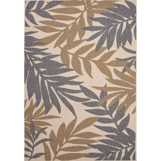 Jaipur Living Indoor-Outdoor Bloom Gray/Tan Floral Rug (4' x 5'3)