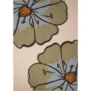 Indoor-Outdoor Floral Pattern Brown/Green (4' x 5'3) AreaRug