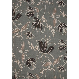 Jaipur Living Indoor-Outdoor Bloom Blue/Black Floral Rug (4' x 5'3)