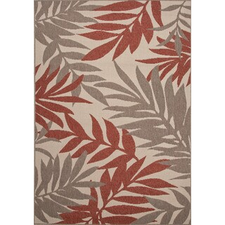 Jaipur Living Indoor-Outdoor Bloom Red/Taupe Floral Rug (4' x 5'3)