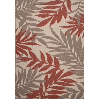 Indoor-Outdoor Floral Pattern Ivory/Red (4' x 5'3) AreaRug