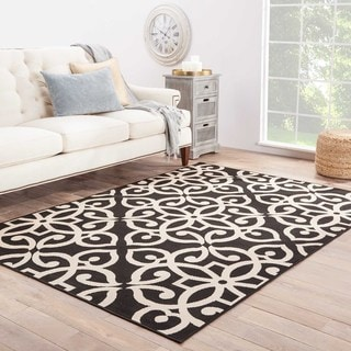 Jaipur Living Indoor-Outdoor Bloom Black Damask Rug (4' x 5'3)