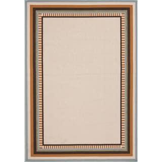 Indoor-Outdoor Border Pattern Brown/Orange (4' x 5'3) AreaRug