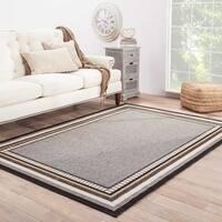 "Ottilie Indoor/ Outdoor Bordered Gray/ Black Area Rug (4' X 5'3"")"