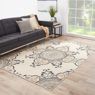 Jaipur Living Indoor-Outdoor Bloom Ivory/Gray Medallion Rug (4' x 5'3)