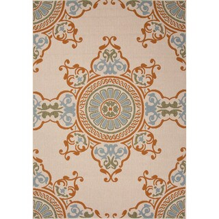 Jaipur Living Indoor-Outdoor Bloom Ivory/Orange Medallion Rug (4' x 5'3)