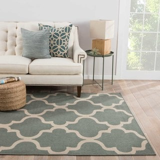 Jaipur Living Indoor-Outdoor Bloom Blue Geometric Rug (4' x 5'3)
