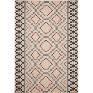 Jaipur Living Indoor-Outdoor Bloom Blue/Red Geometric Rug (4' x 5'3)