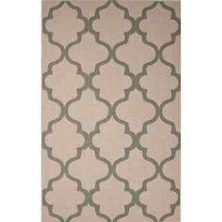 Indoor-Outdoor Geometric Pattern Brown/Blue (4' x 5'3) AreaRug