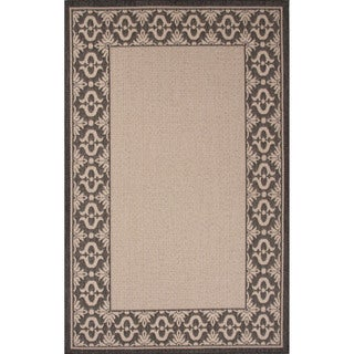 Indoor-Outdoor Border Pattern Ivory/Black (4' x 5'3) AreaRug
