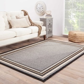 Jaipur Living Indoor-Outdoor Bloom Gray/Ivory Border Rug (5'3 x 7'6)