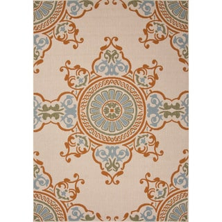 Jaipur Living Indoor-Outdoor Bloom Ivory/Orange Medallion Rug (5'3 x 7'6)