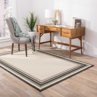 Jaipur Living Indoor-Outdoor Bloom Ivory/Blue Border Rug (5'3 x 7'6)