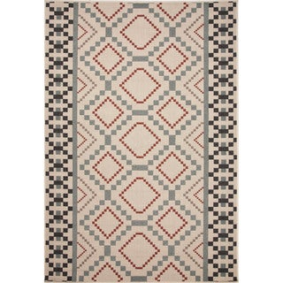 Jaipur Living Indoor-Outdoor Bloom Blue/Red Geometric Rug (5'3 x 7'6)