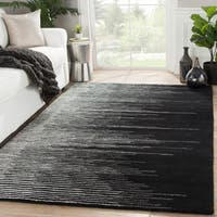 Sarafina Handmade Stripe Black/ Cream Area Rug (5' X 8')