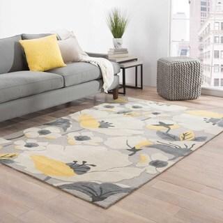 "Handmade Floral Gray/ Silver Area Rug (5' X 7'6"")"