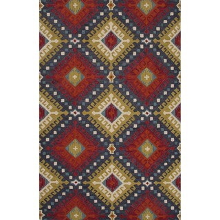 Hand-Tufted Argyle Pattern Red/Red (5' x 8') AreaRug