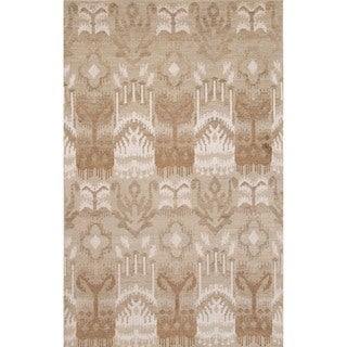 Hand-Knotted Argyle Pattern Brown/Ivory (5' x 8') AreaRug