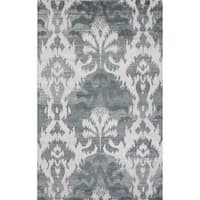 Hand-Knotted Damask Green Area Rug - 5' x 8'