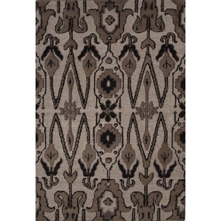 Hand-Knotted Argyle Pattern Brown/Black (5' x 8') AreaRug