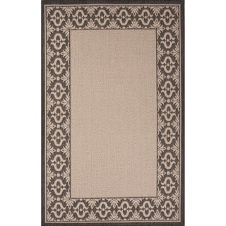 Indoor-Outdoor Border Pattern Ivory/Black (5'3 x 7'6) AreaRug