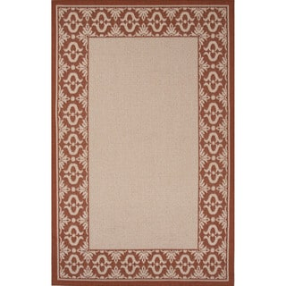 Indoor-Outdoor Border Pattern Ivory/Red (5'3 x 7'6) AreaRug