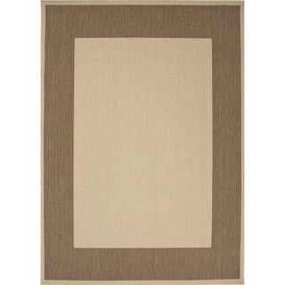 Indoor-Outdoor Border Pattern Brown/Brown (5'3 x 7'6) AreaRug