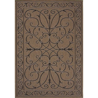 Indoor-Outdoor Oriental Pattern Brown/Black (5'3 x 7'6) AreaRug