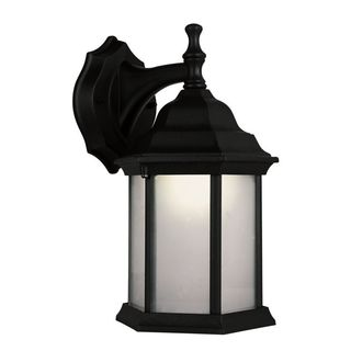 Cambridge Black Finish Outdoor Wall Sconce with White Shade