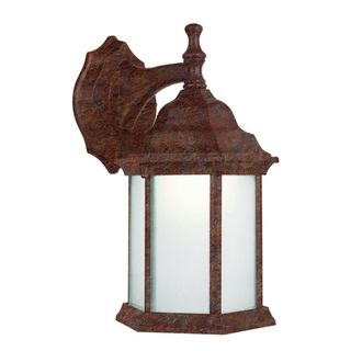 Cambridge Rust Finish Outdoor Wall Sconce with White Shade