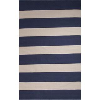 Flatweave Stripe Pattern Blue/White (5' x 8') AreaRug