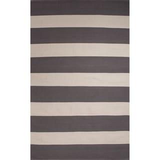 Flatweave Stripe Pattern Grey/White (5' x 8') AreaRug